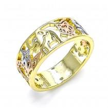 Gold Filled Elegant Ring Elephant and Owl Design With White Cubic Zirconia Polished Finish Tri Tone