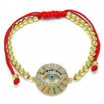 Gold Filled Adjustable Bolo Bracelet Greek Eye and Ball Design With Multicolor Micro Pave Turquoise Enamel Finish Golden Tone