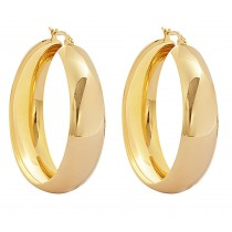 Stainless Steel Gold Tone 40mm Round Hoop Earrings