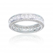 925 Sterling Silver Front & Side Multi Stone Eternity Band