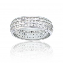 925 Sterling Silver 3 Row Channel Set Eternity Band