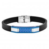 Stainless Steel Blue Men's Leather Bracelet