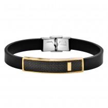 Stainless Steel Black/Gold Tone Men's Leather Bracelet