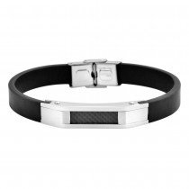 Stainless Steel Silver & Black Men's Leather Bracelet