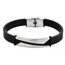 Stainless Steel Silver/Black Men's Leather Bracelet