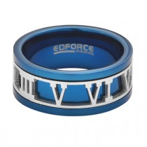 Stainless Steel Blue Men's Ring