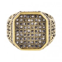 Stainless Steel Gold/Black Men's Ring