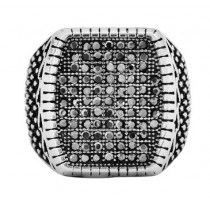 Stainless Steel Silver/Black Men's Ring
