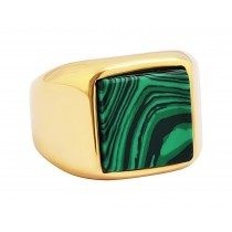 Stainless Steel Green/Gold Tone Men's Ring