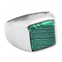Stainless Steel Green/Silver Tone Men's Ring