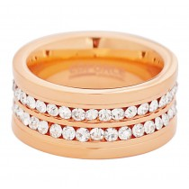 Stainless Steel Rose Gold Plated Double Row CZ Ladies Ring