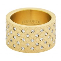 Stainless Steel Yellow Gold Plated CZ Ladies Ring