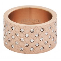 Stainless Steel Rose Gold Plated CZ Ladies Ring