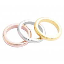 Stainless Steel Tri Color Ladies Ring