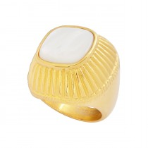 Stainless Steel Gold Tone With Pearl Ladies Ring