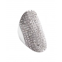 Stainless Steel Silver Tone CZ Ladies Ring