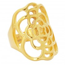 Stainless Steel Gold Tone Flower Pattern Ladies Ring
