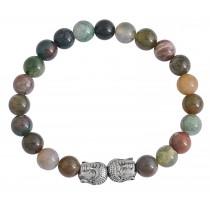 Stainless Steel India Agate Beaded Buddha Bracelet