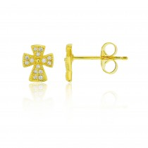 925 Sterling Silver Gold Tone Cross Stud Earrings With Cubic Zirconia