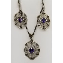 Sterling Silver Purple Marcasite Pendant Necklace & Earrings Set