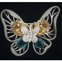 925 Sterling Silver Butterfly Brooch With CZ