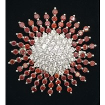 925 Sterling Silver Brooch With CZ and Red Topaz