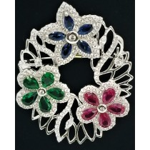 925 Sterling Silver Brooch With CZ Sapphire and Emerald