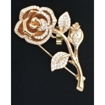 925 Sterling Silver Rose Gold Plated Brooch With CZ