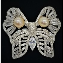 925 Sterling Silver Butterfly Brooch With CZ and Pearl
