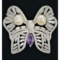 925 Sterling Silver Butterfly Brooch With CZ Amethyst and Pearl