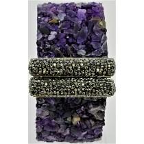 Amethyst With Hematite Druzy Cuff Bracelet