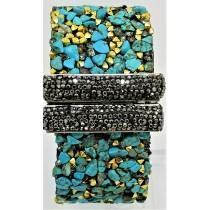 Turquoise With Hematite Druzy Cuff Bracelet
