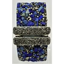 Lapis Lazuli With Hematite Druzy Cuff Bracelet