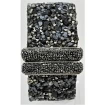 Black Onyx With Hematite Druzy Cuff Bracelet