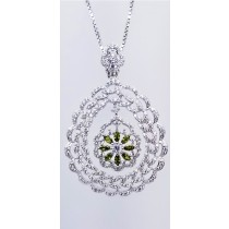 925 Sterling Silver Rhodium Tone Pendant With Peridot And CZ Stones