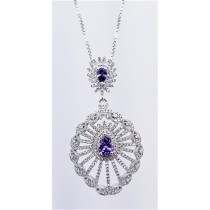 925 Sterling Silver Rhodium Tone Pendant With Amethyst And CZ Stones