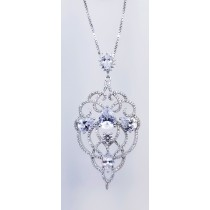 925 Sterling Silver Rhodium Tone Pendant With CZ Stones