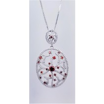 925 Sterling Silver Rhodium Tone Pendant With CZ And Garnet Stones