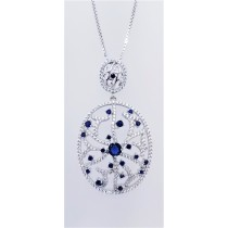 925 Sterling Silver Rhodium Tone Pendant With CZ And Sapphire Stones