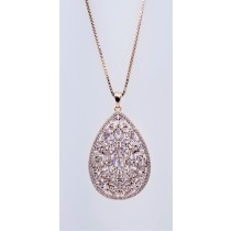 925 Sterling Silver Rose Gold Tone CZ Pendant
