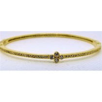 925 Sterling Silver Yellow Gold Tone CZ Bangle