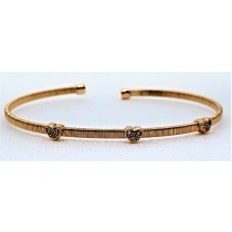 925 Sterling Silver Rose Gold Tone CZ Bangle