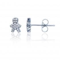 925 Sterling Silver Rhodium Micropave Little Boy Stud earring