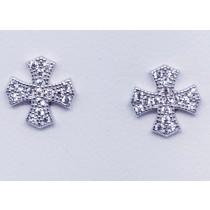 925 Sterling Silver Cross Stud Earrings With Cubic Zirconia