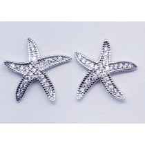 925 Sterling Silver Star Fish Stud Earrings With Cubic Zirconia