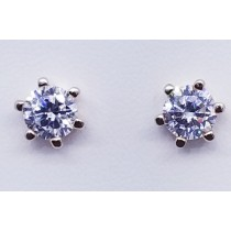 925 Sterling Silver Rose Gold Tone Stud Earrings With Cubic Zirconia