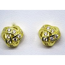 925 Sterling Silver Gold Tone Love Knot Stud Earrings With Cubic Zirconia