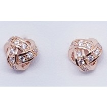 925 Sterling Silver Rose Gold Tone Love Knot Stud Earrings With Cubic Zirconia