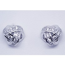 925 Sterling Silver Love Knot Stud Earrings With Cubic Zirconia
