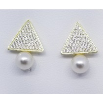 925 Sterling Silver Gold Tone Pearl Stud Earrings With Cubic Zirconia